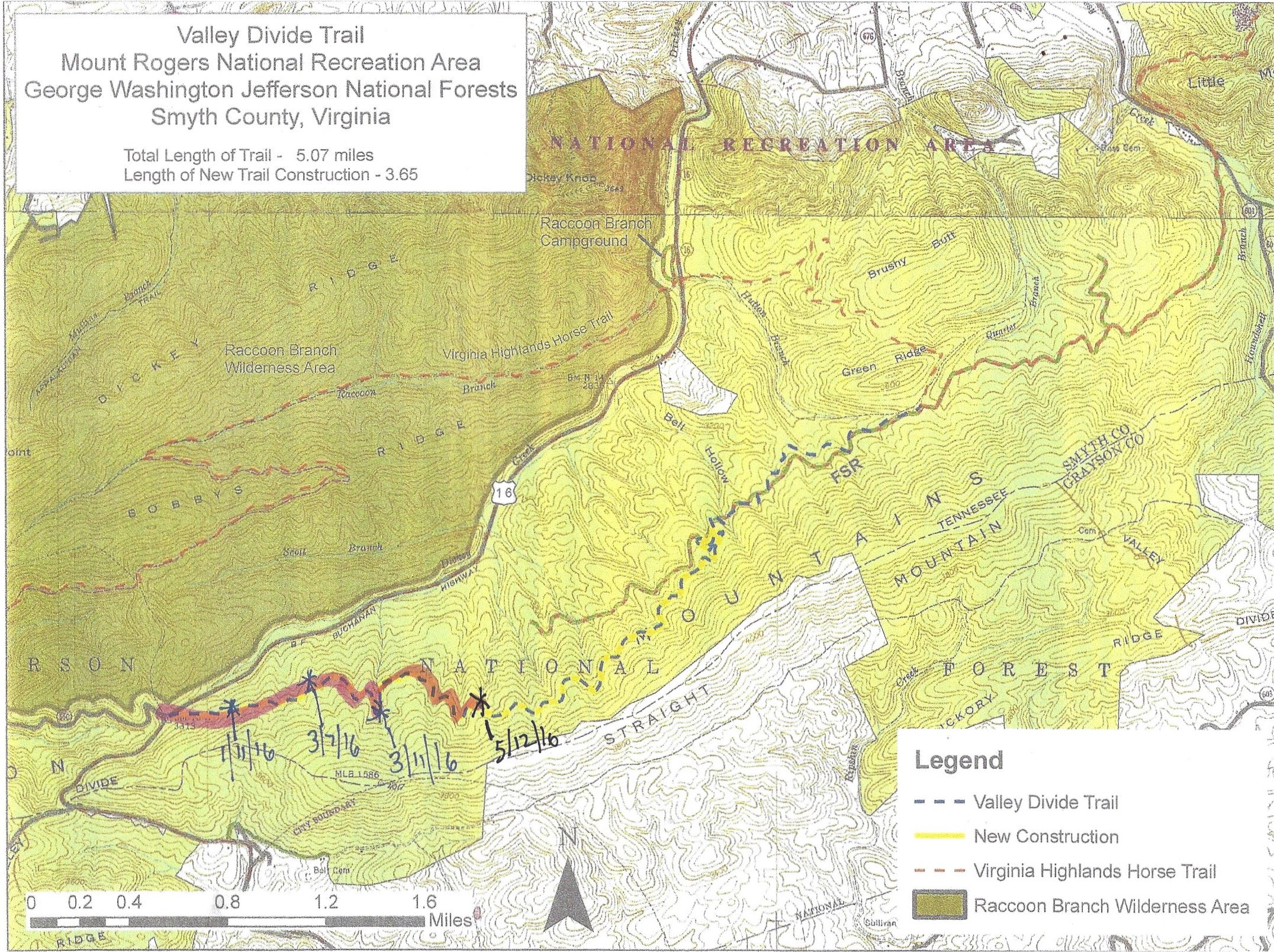 Our progress working on the proposed Valley Divide Trail